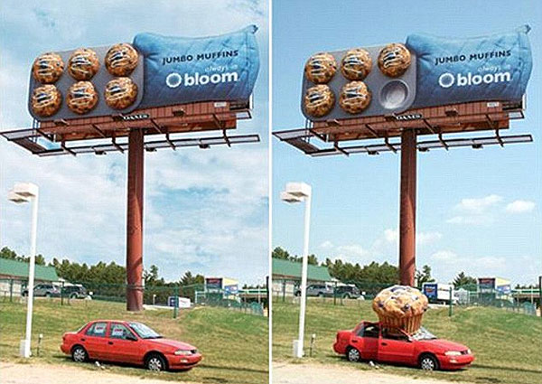 Bloom Jumbo Muffin Crash Car Creative Billboard