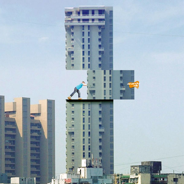 Boy Moving Building Creative Billboard