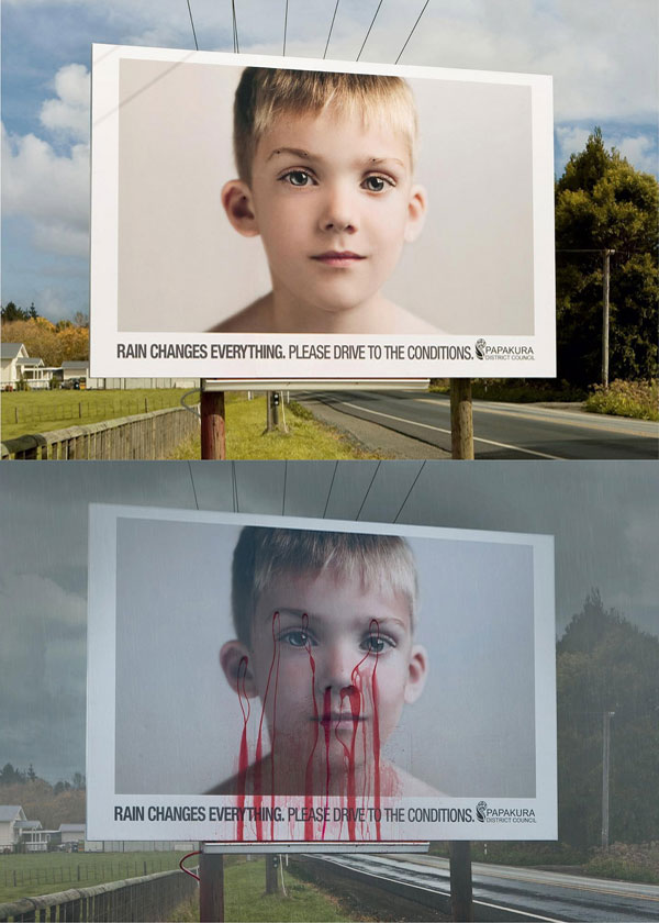 Childrens Eyes Bleeding Rain Creative Billboard