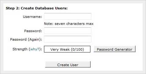 create mysql database users