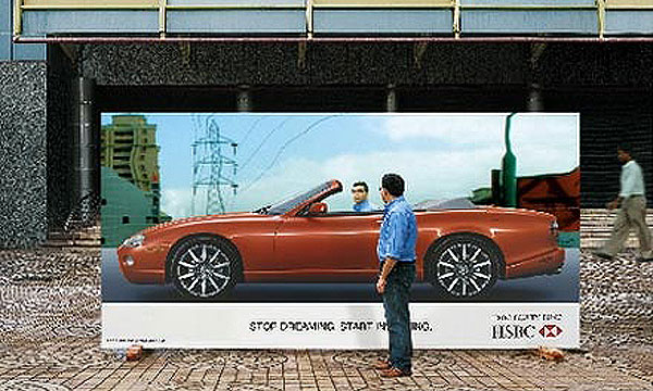 HSBC Car Mirror Creative Billboard