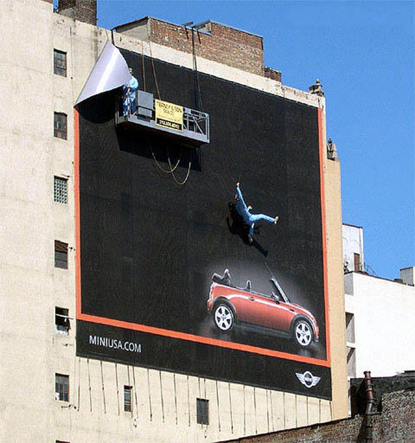 Mini Usa Falling Guy Creative Billboard