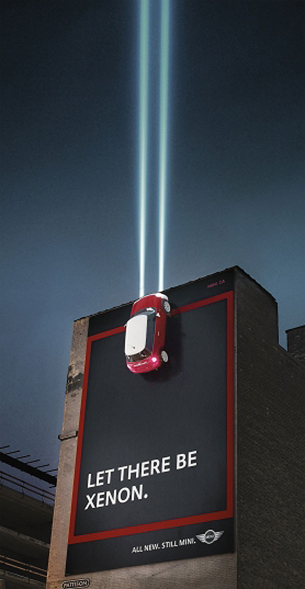 Mini Xenon Headlights Creative Billboard