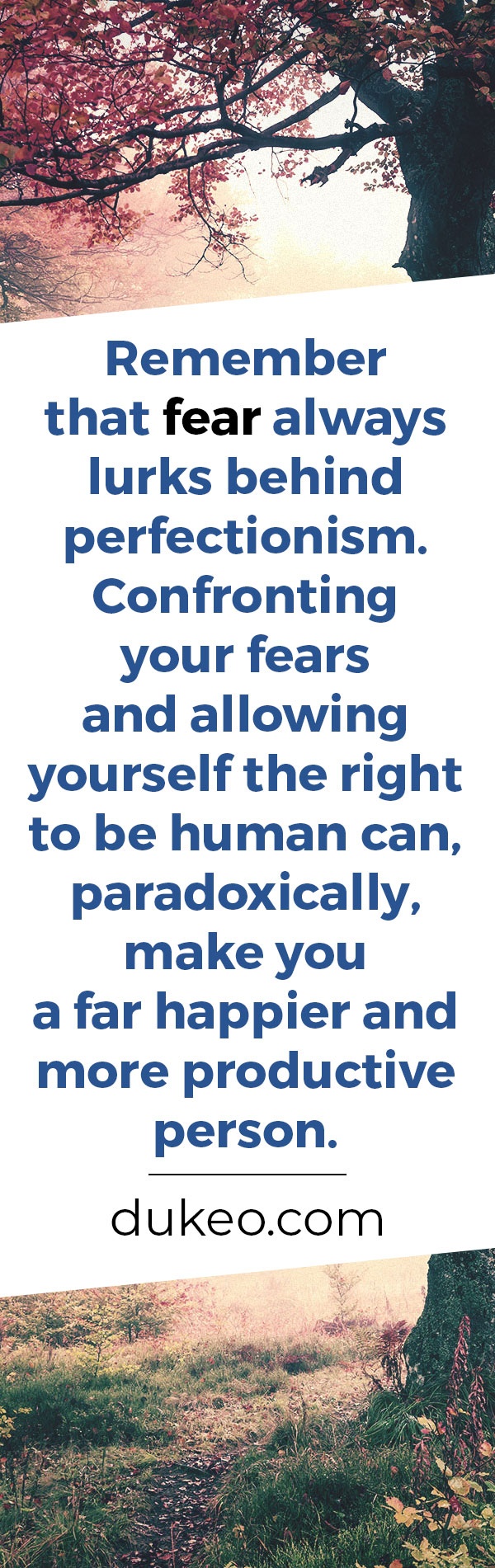 Remember that fear always lurks behind perfectionism. Confronting your fears and allowing yourself the right to be human can, paradoxically, make you a far happier and more productive person.