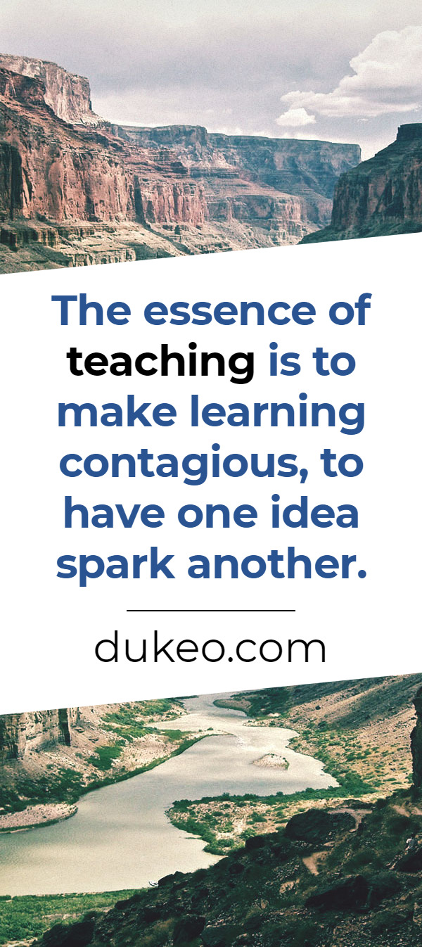 The essence of teaching is to make learning contagious, to have one idea spark another.