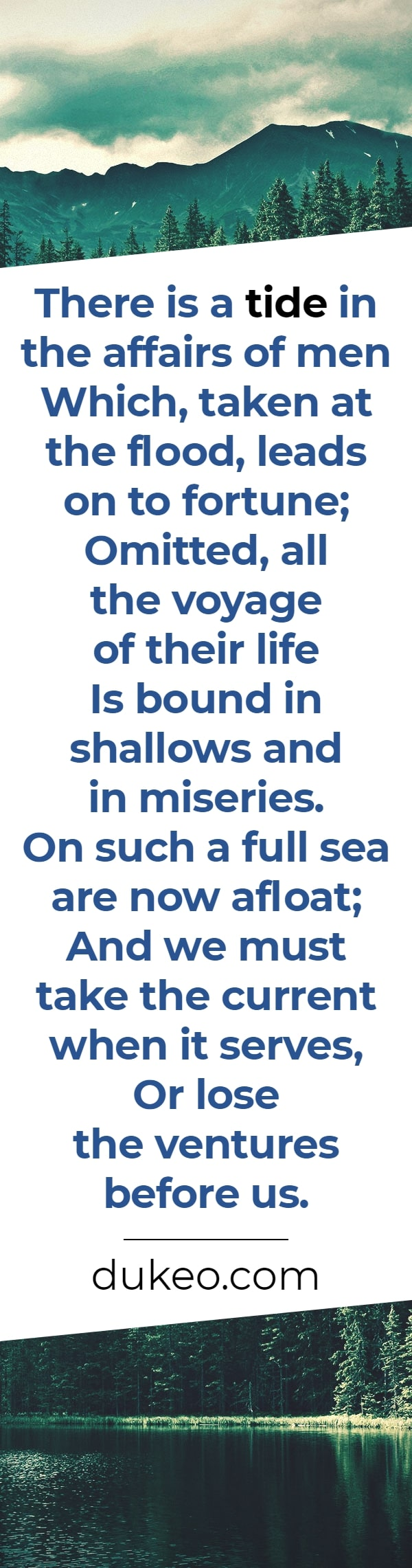 There is a tide in the affairs of men<br />Which, taken at the flood, leads on to fortune;<br />Omitted, all the voyage of their life<br />Is bound in shallows and in miseries.<br />On such a full sea are now afloat;<br />And we must take the current when it serves,<br />Or lose the ventures before us.