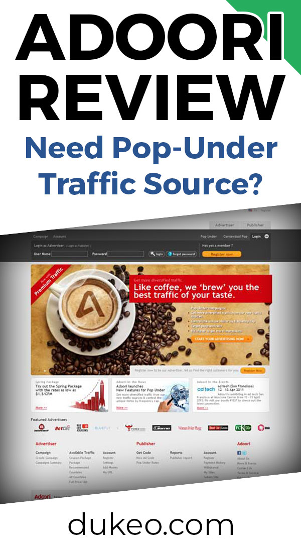 Adoori Review: Need Pop-Under Traffic Source?