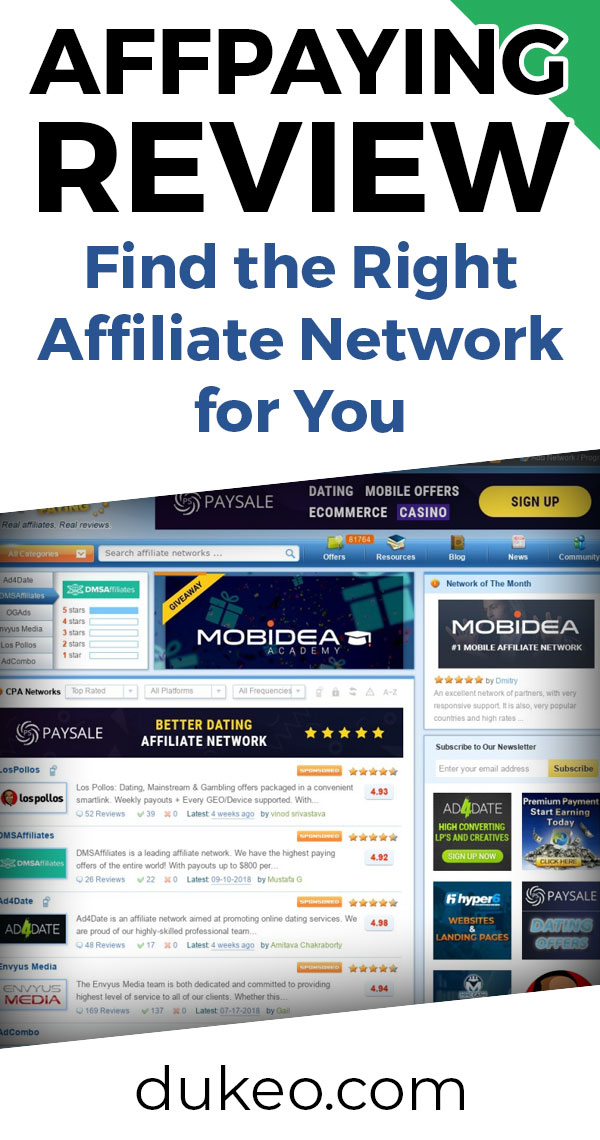 AffPaying Review: Find the Right Affiliate Network For You