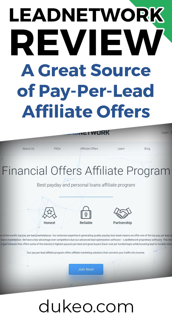 LeadNetwork Review: A Great Source Of Pay-Per-Lead Affiliate Offers