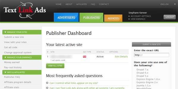 text link ads publisher dashboard