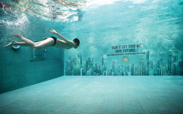Underwater Swimming Pool Creative Billboard