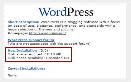 wordpress new installation